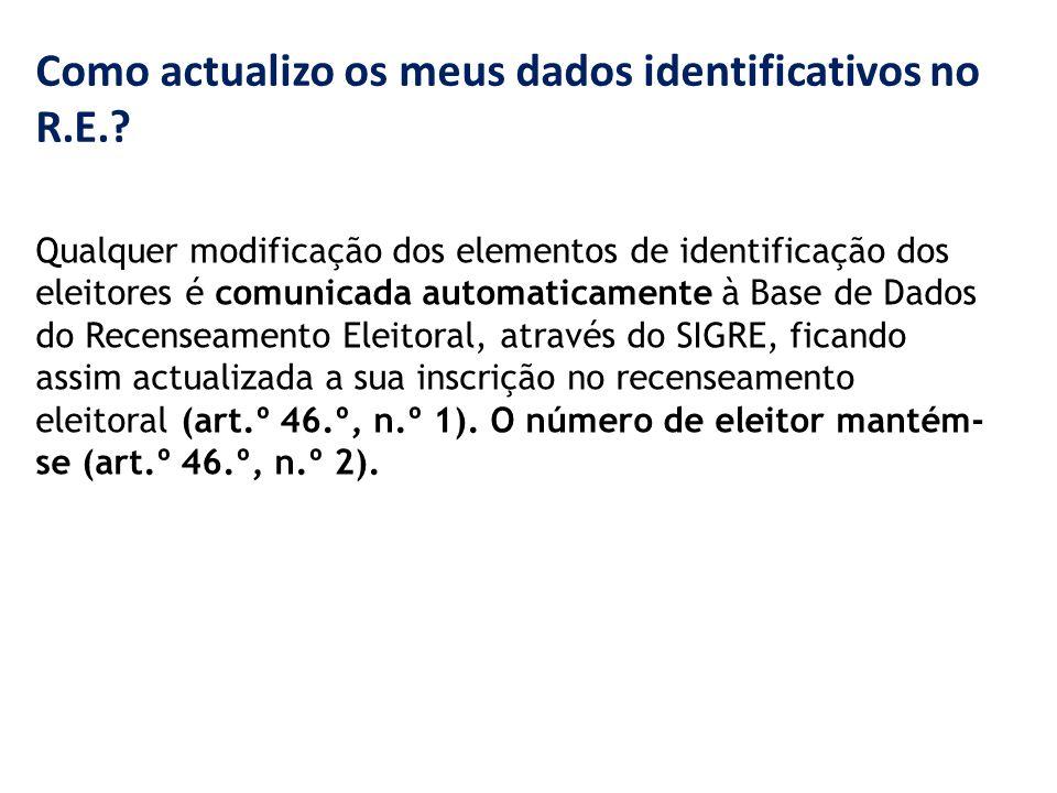 Como actualizo os meus dados identificativos no R.E..