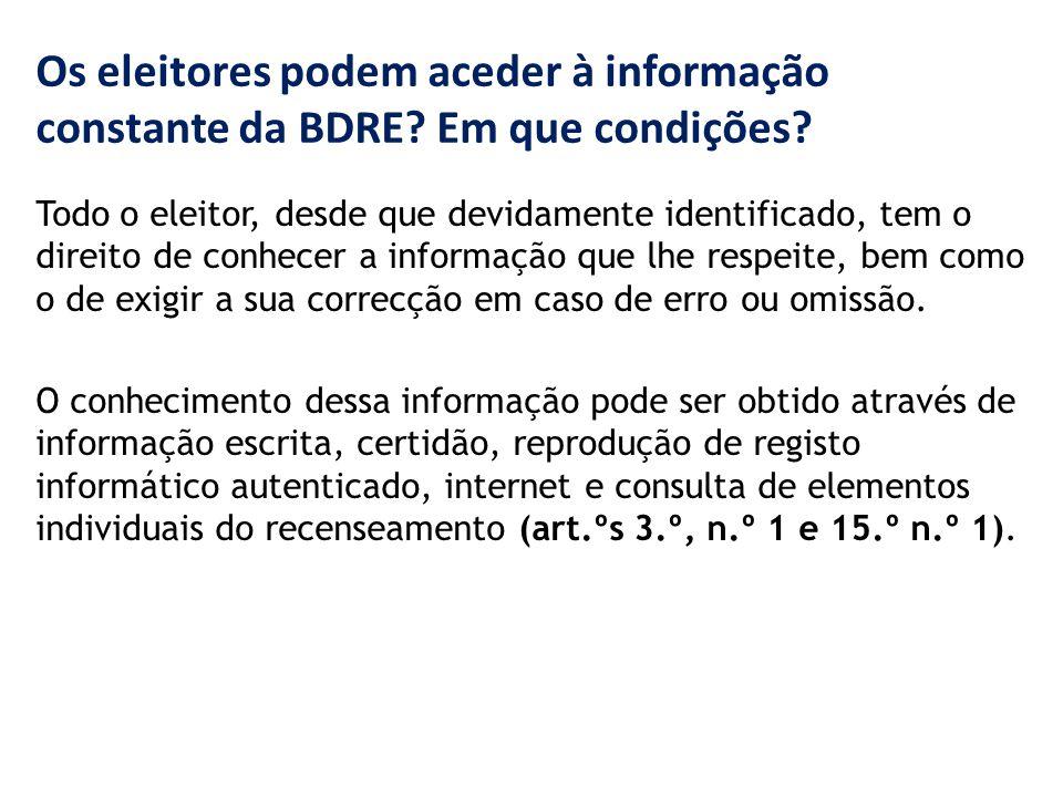 Os eleitores podem aceder à informação constante da BDRE.