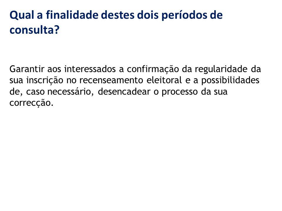 Qual a finalidade destes dois períodos de consulta.