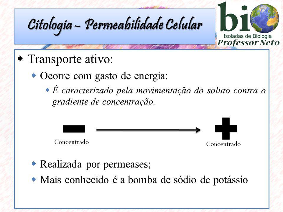 Citologia – Permeabilidade Celular  Transporte ativo:  Ocorre com gasto de energia:  É caracterizado pela movimentação do soluto contra o gradiente