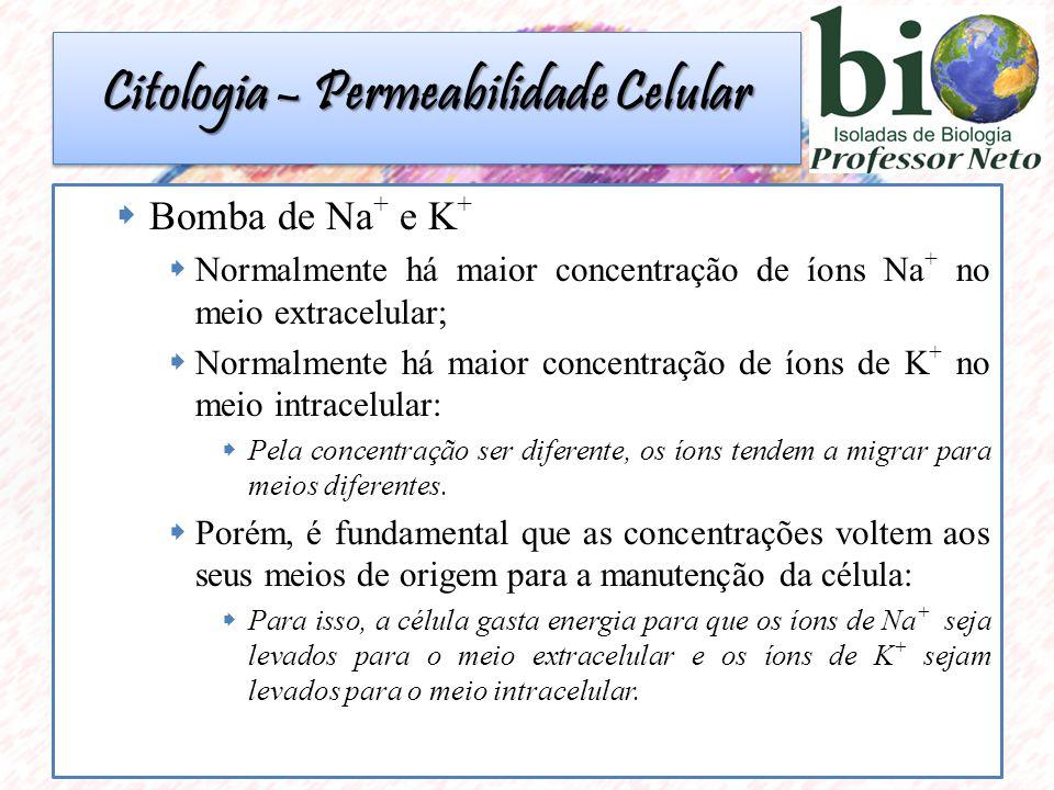 Citologia – Permeabilidade Celular  Bomba de Na + e K +  Normalmente há maior concentração de íons Na + no meio extracelular;  Normalmente há maior concentração de íons de K + no meio intracelular:  Pela concentração ser diferente, os íons tendem a migrar para meios diferentes.