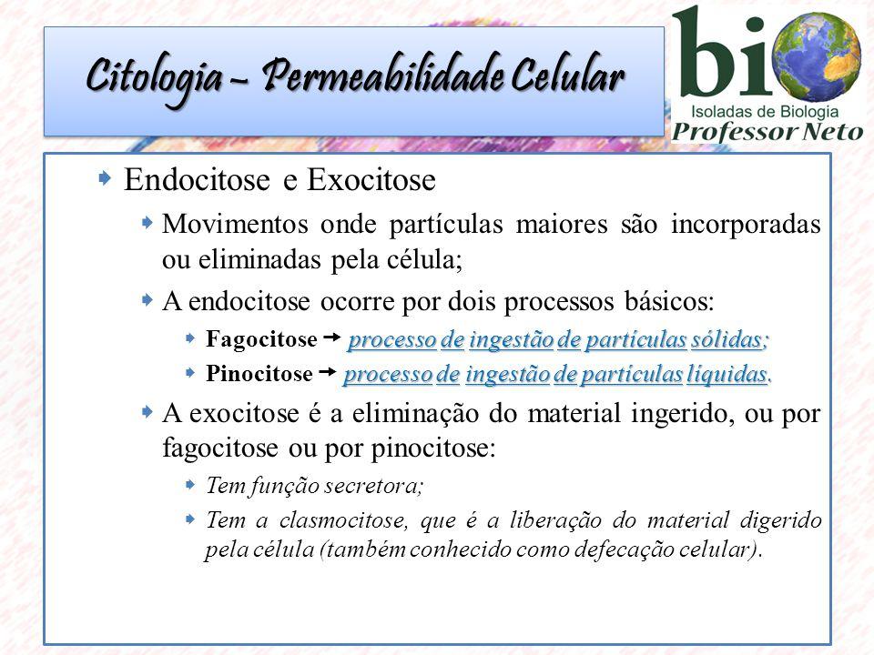  Endocitose e Exocitose  Movimentos onde partículas maiores são incorporadas ou eliminadas pela célula;  A endocitose ocorre por dois processos básicos: processo de ingestão de partículas sólidas;  Fagocitose  processo de ingestão de partículas sólidas; processo de ingestão de partículas líquidas.