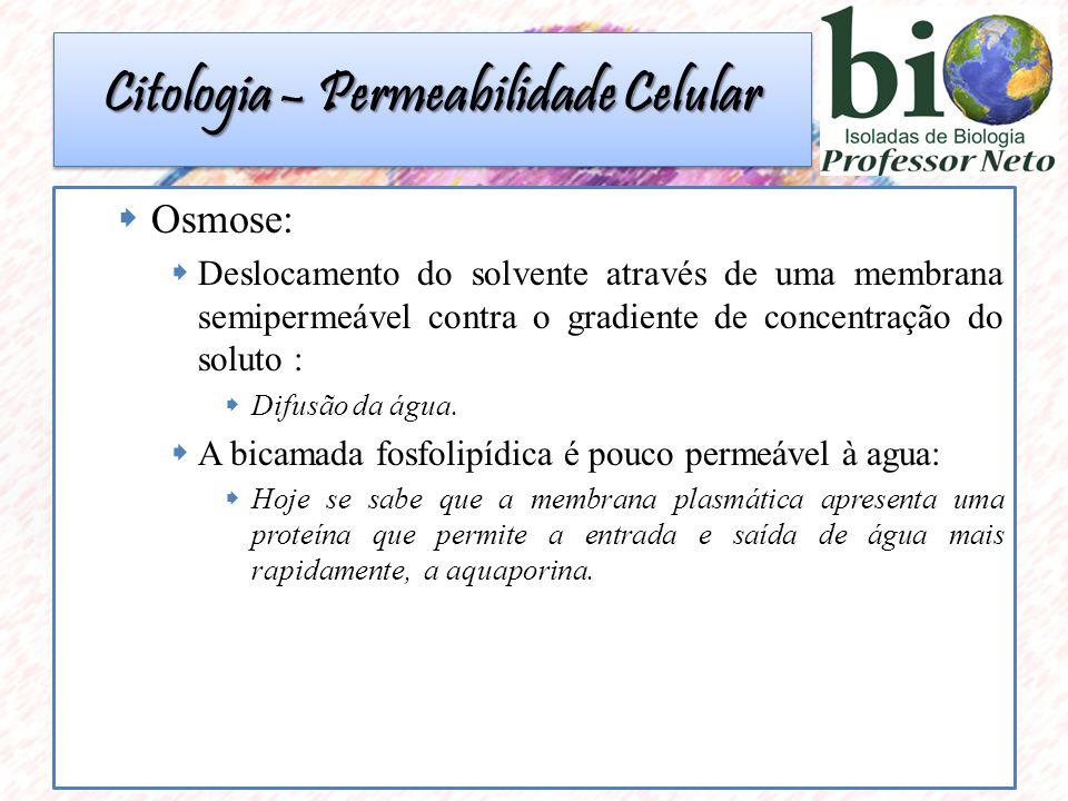  Osmose:  Deslocamento do solvente através de uma membrana semipermeável contra o gradiente de concentração do soluto :  Difusão da água.