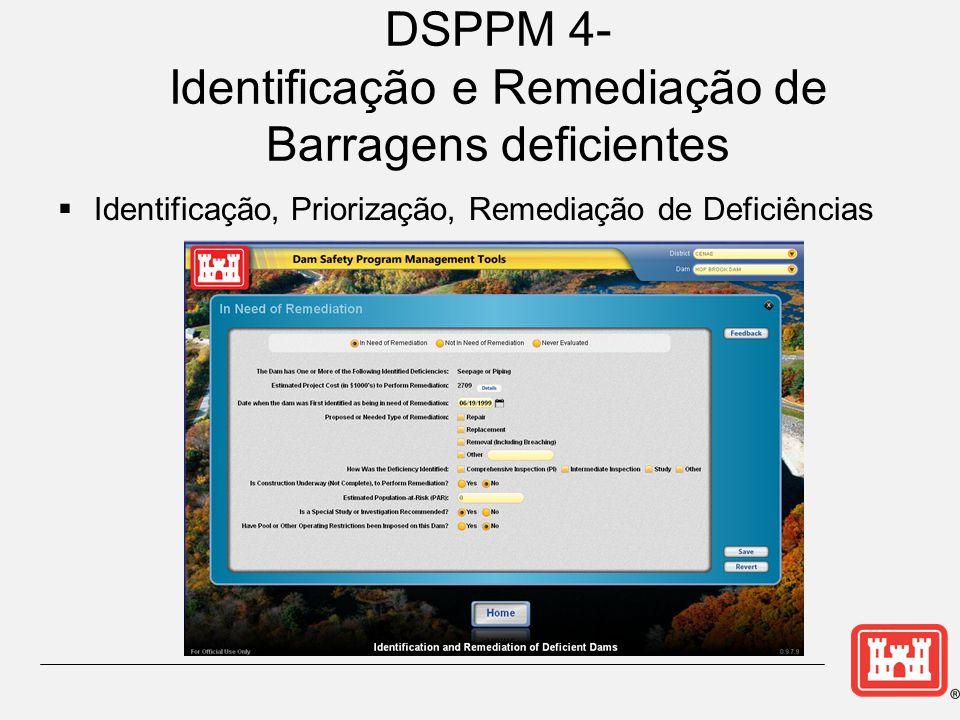 DSPPM 4- Identificação e Remediação de Barragens deficientes  Identificação, Priorização, Remediação de Deficiências