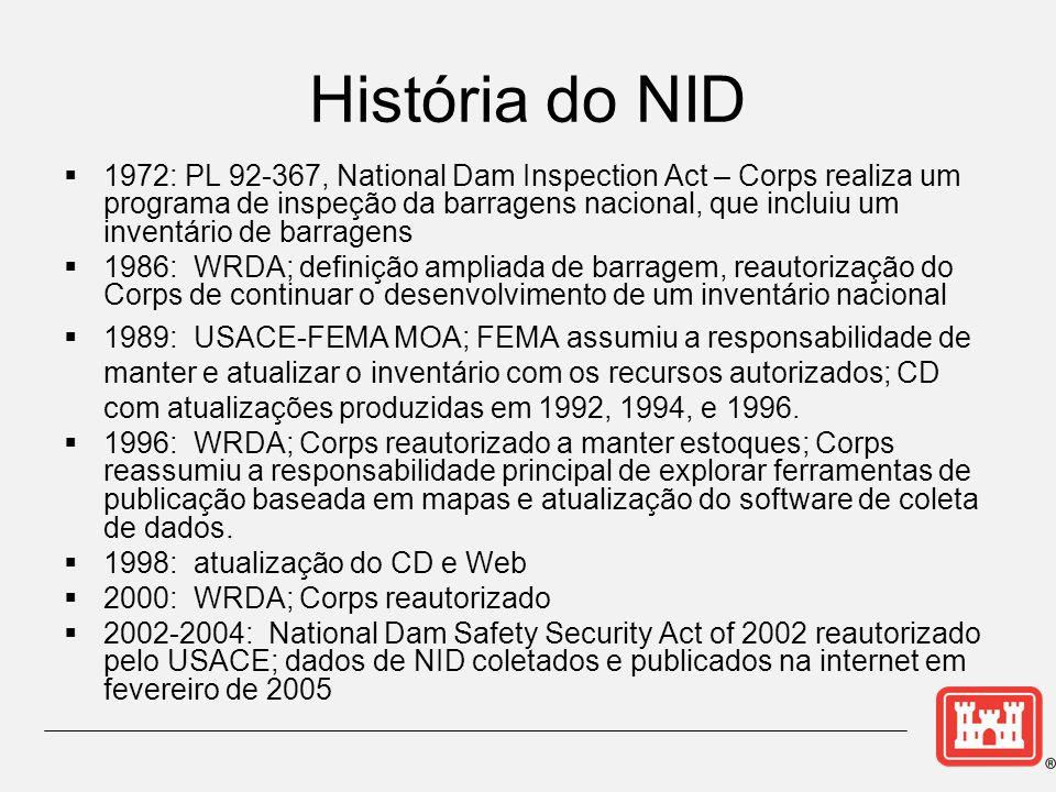 História do NID  1972: PL 92-367, National Dam Inspection Act – Corps realiza um programa de inspeção da barragens nacional, que incluiu um inventário de barragens  1986: WRDA; definição ampliada de barragem, reautorização do Corps de continuar o desenvolvimento de um inventário nacional  1989: USACE-FEMA MOA; FEMA assumiu a responsabilidade de manter e atualizar o inventário com os recursos autorizados; CD com atualizações produzidas em 1992, 1994, e 1996.