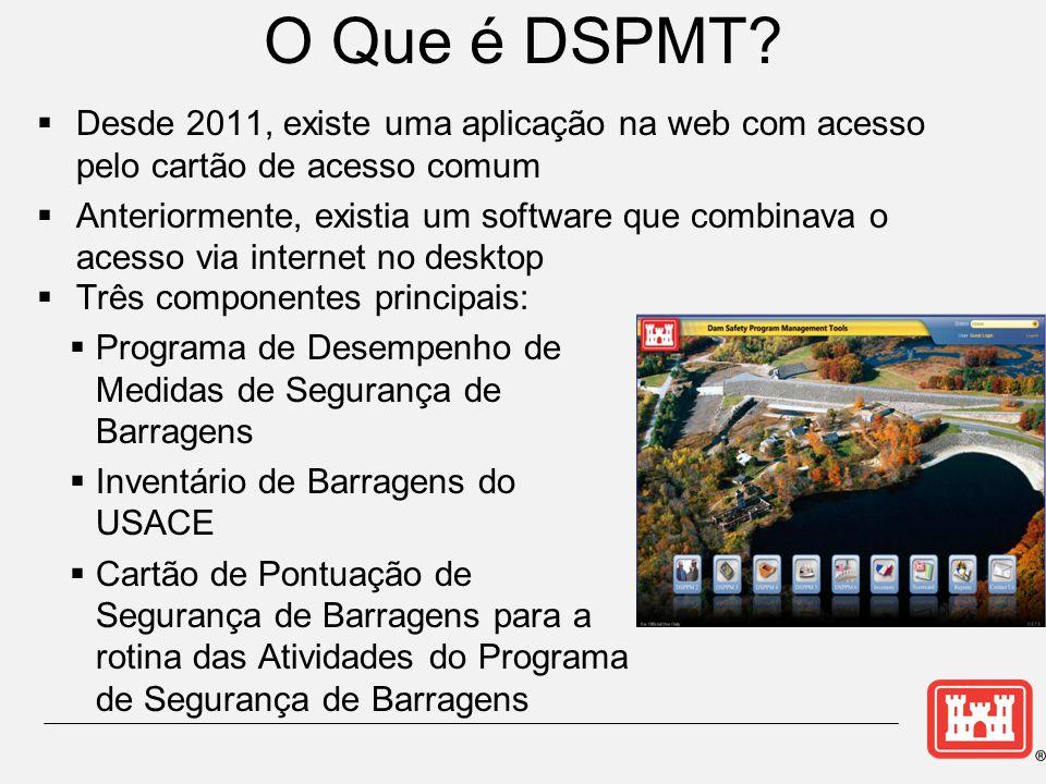 Componentes das Ferramentas do DSPMT →Programa de Desempenho de Medidas de Segurança de Barragens  Inventário de Barragens do USACE  Cartão de Pontuação de Segurança de Barragens para a rotina das Atividades do Programa de Segurança de Barragens