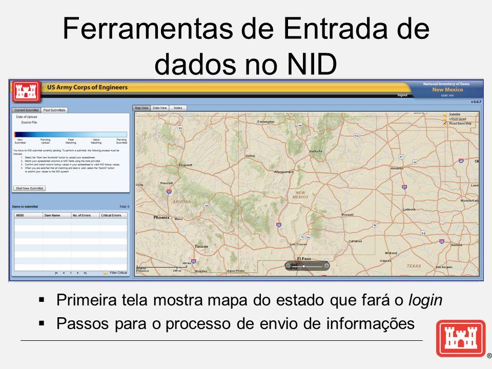 Ferramentas de Entrada de dados no NID  Primeira tela mostra mapa do estado que fará o login  Passos para o processo de envio de informações