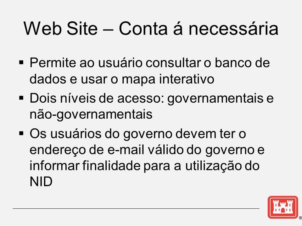 Web Site – Conta á necessária  Permite ao usuário consultar o banco de dados e usar o mapa interativo  Dois níveis de acesso: governamentais e não-governamentais  Os usuários do governo devem ter o endereço de e-mail válido do governo e informar finalidade para a utilização do NID