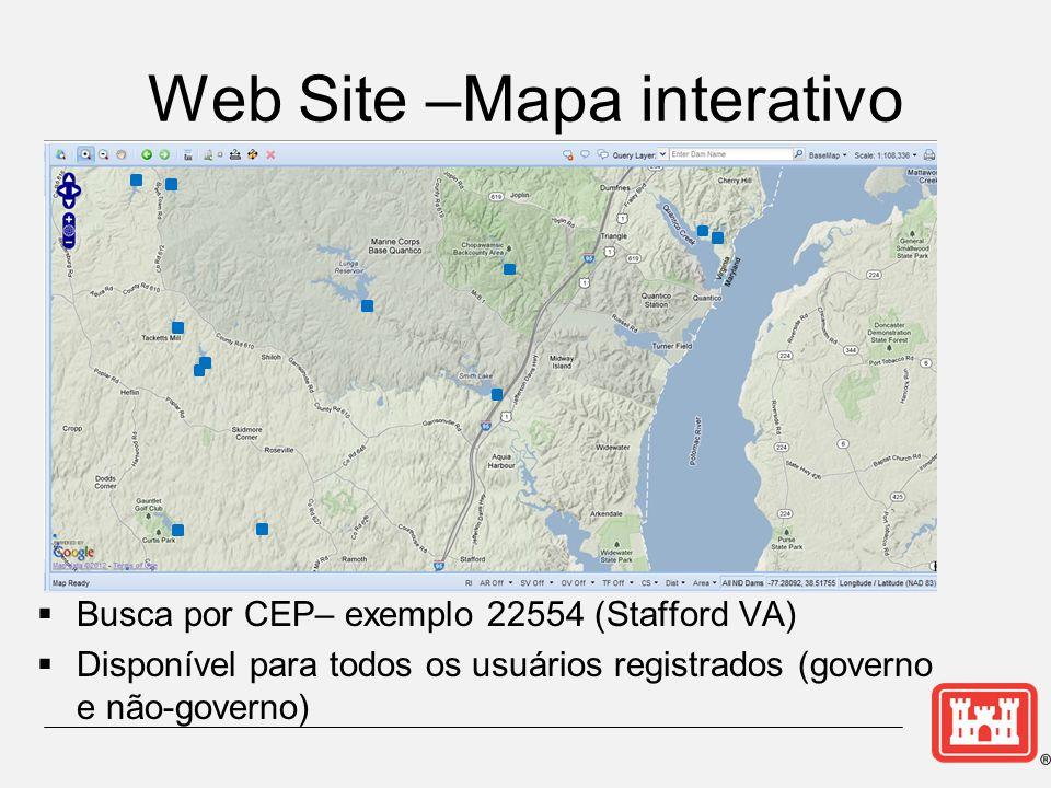 Web Site –Mapa interativo  Busca por CEP– exemplo 22554 (Stafford VA)  Disponível para todos os usuários registrados (governo e não-governo)