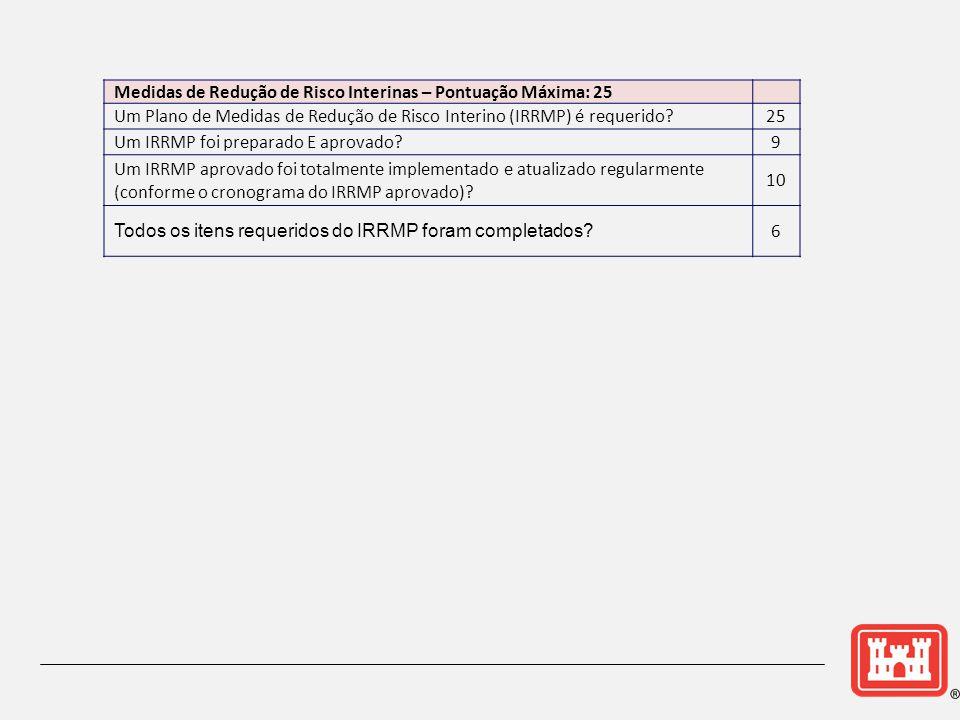 Medidas de Redução de Risco Interinas – Pontuação Máxima: 25 Um Plano de Medidas de Redução de Risco Interino (IRRMP) é requerido?25 Um IRRMP foi preparado E aprovado?9 Um IRRMP aprovado foi totalmente implementado e atualizado regularmente (conforme o cronograma do IRRMP aprovado).