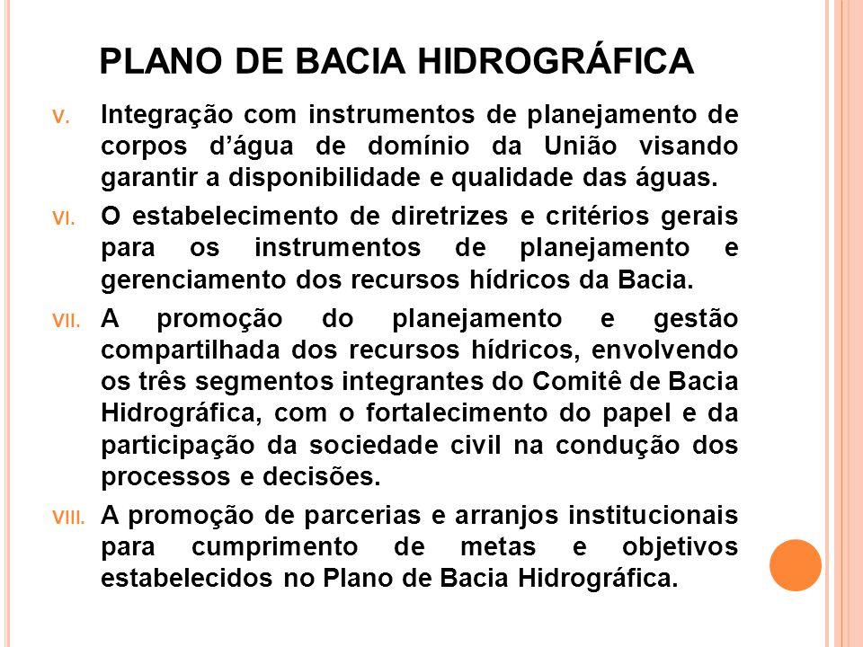 PLANO DE BACIA HIDROGRÁFICA V. Integração com instrumentos de planejamento de corpos d'água de domínio da União visando garantir a disponibilidade e q