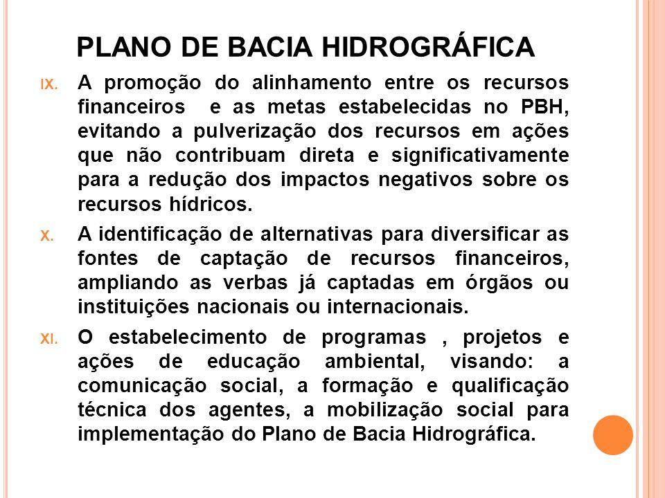 PLANO DE BACIA HIDROGRÁFICA IX. A promoção do alinhamento entre os recursos financeiros e as metas estabelecidas no PBH, evitando a pulverização dos r