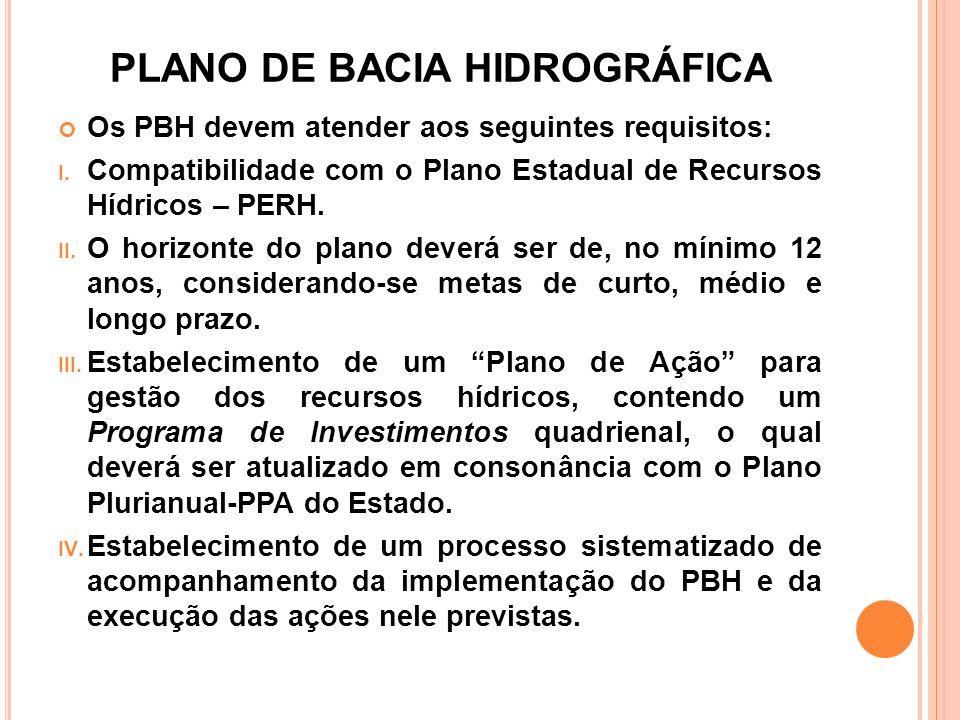 PLANO DE BACIA HIDROGRÁFICA Os PBH devem atender aos seguintes requisitos: I. Compatibilidade com o Plano Estadual de Recursos Hídricos – PERH. II. O