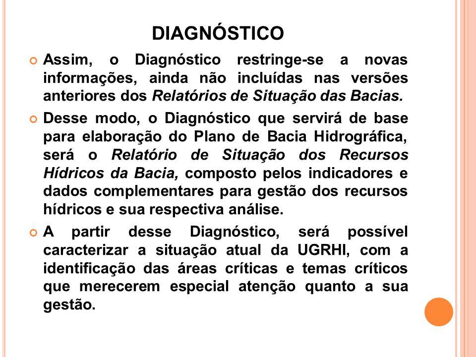 DIAGNÓSTICO Assim, o Diagnóstico restringe-se a novas informações, ainda não incluídas nas versões anteriores dos Relatórios de Situação das Bacias. D