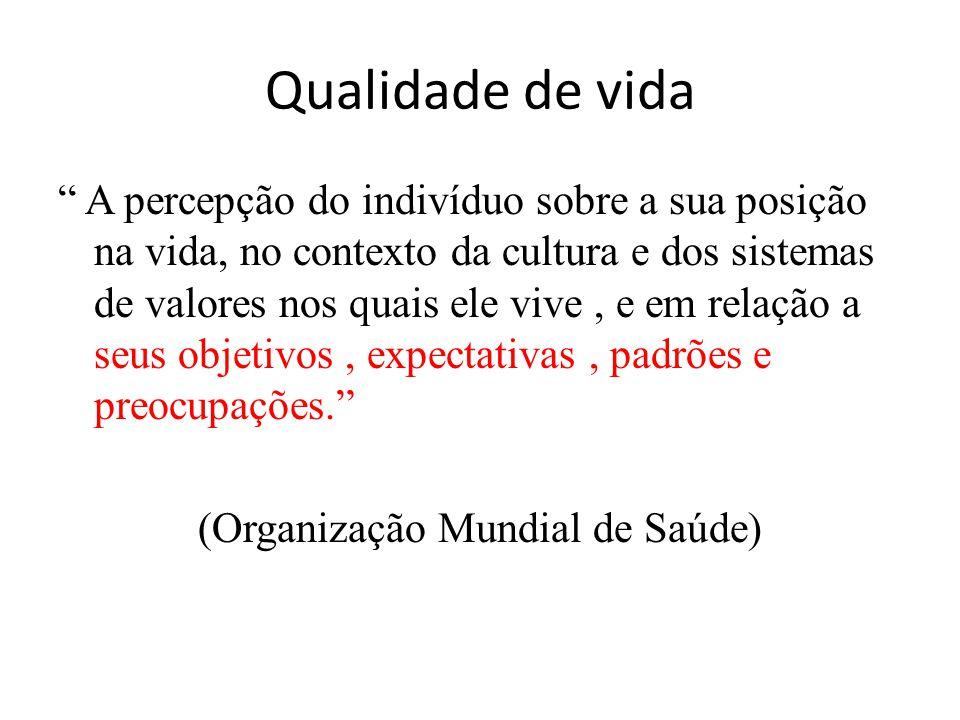 """"""" A percepção do indivíduo sobre a sua posição na vida, no contexto da cultura e dos sistemas de valores nos quais ele vive, e em relação a seus objet"""