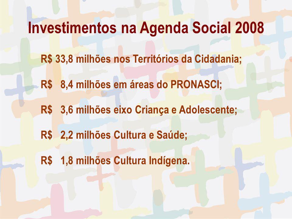 Investimentos na Agenda Social 2008 R$ 33,8 milhões nos Territórios da Cidadania; R$ 8,4 milhões em áreas do PRONASCI; R$ 3,6 milhões eixo Criança e A