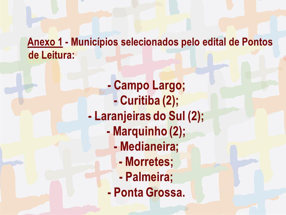 27/04/09 Anexo 1 - Municípios selecionados pelo edital de Pontos de Leitura: - Campo Largo; - Curitiba (2); - Laranjeiras do Sul (2); - Marquinho (2);