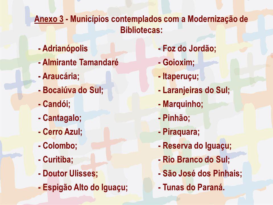 27/04/09 Anexo 3 - Municípios contemplados com a Modernização de Bibliotecas: - Adrianópolis - Foz do Jordão; - Almirante Tamandaré - Goioxim; - Arauc