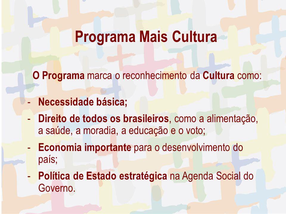Programa Mais Cultura O Programa marca o reconhecimento da Cultura como: - Necessidade básica; - Direito de todos os brasileiros, como a alimentação,