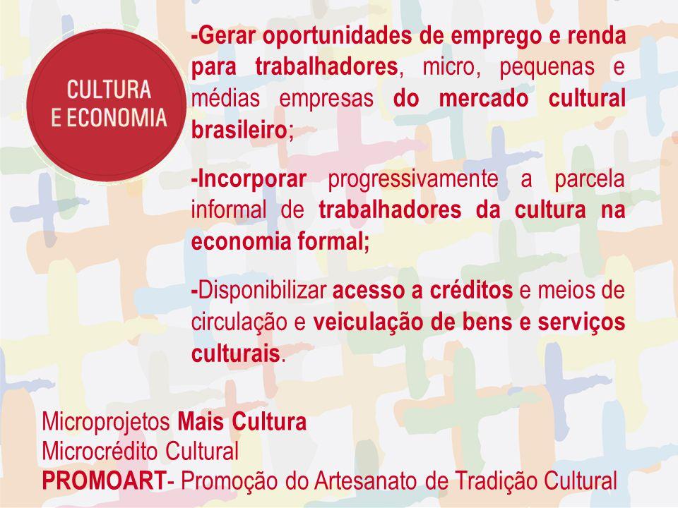 -Gerar oportunidades de emprego e renda para trabalhadores, micro, pequenas e médias empresas do mercado cultural brasileiro ; -Incorporar progressiva