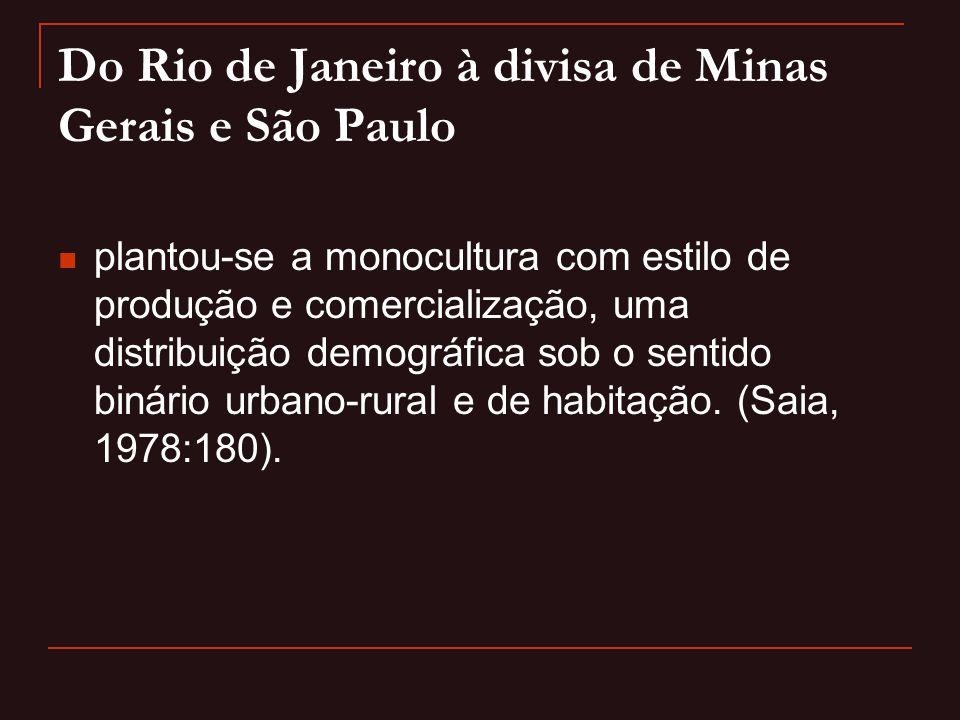 Do Rio de Janeiro à divisa de Minas Gerais e São Paulo  plantou-se a monocultura com estilo de produção e comercialização, uma distribuição demográfi