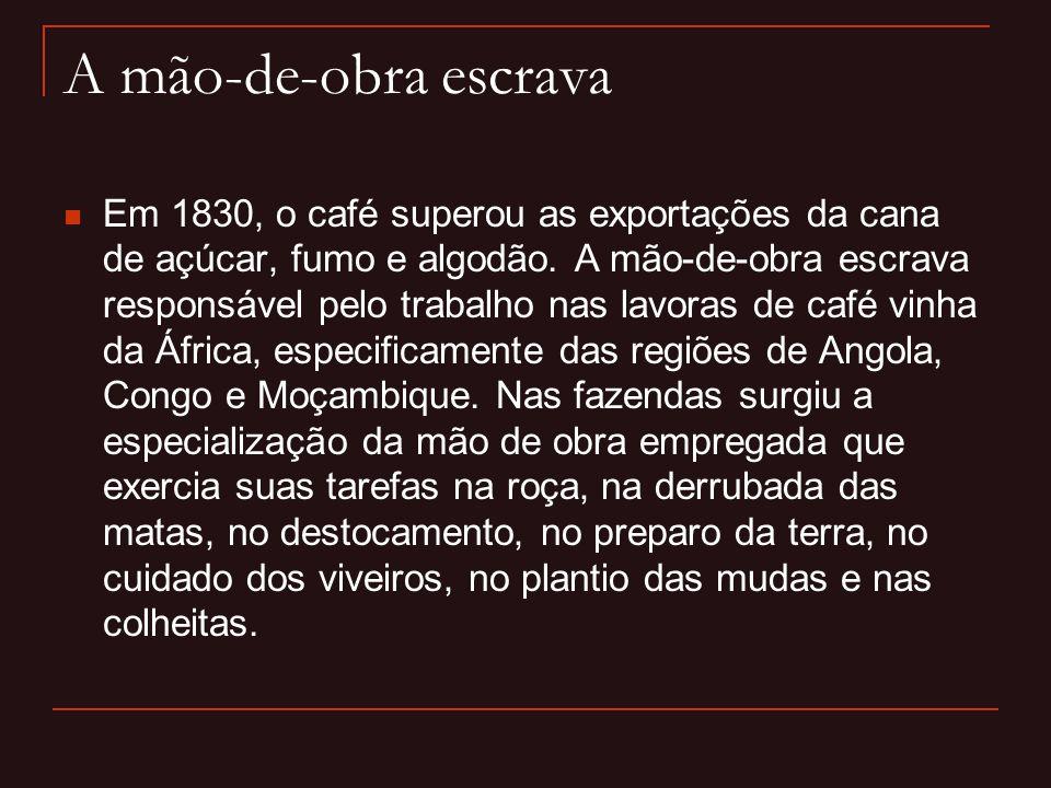A mão-de-obra escrava  Em 1830, o café superou as exportações da cana de açúcar, fumo e algodão. A mão-de-obra escrava responsável pelo trabalho nas