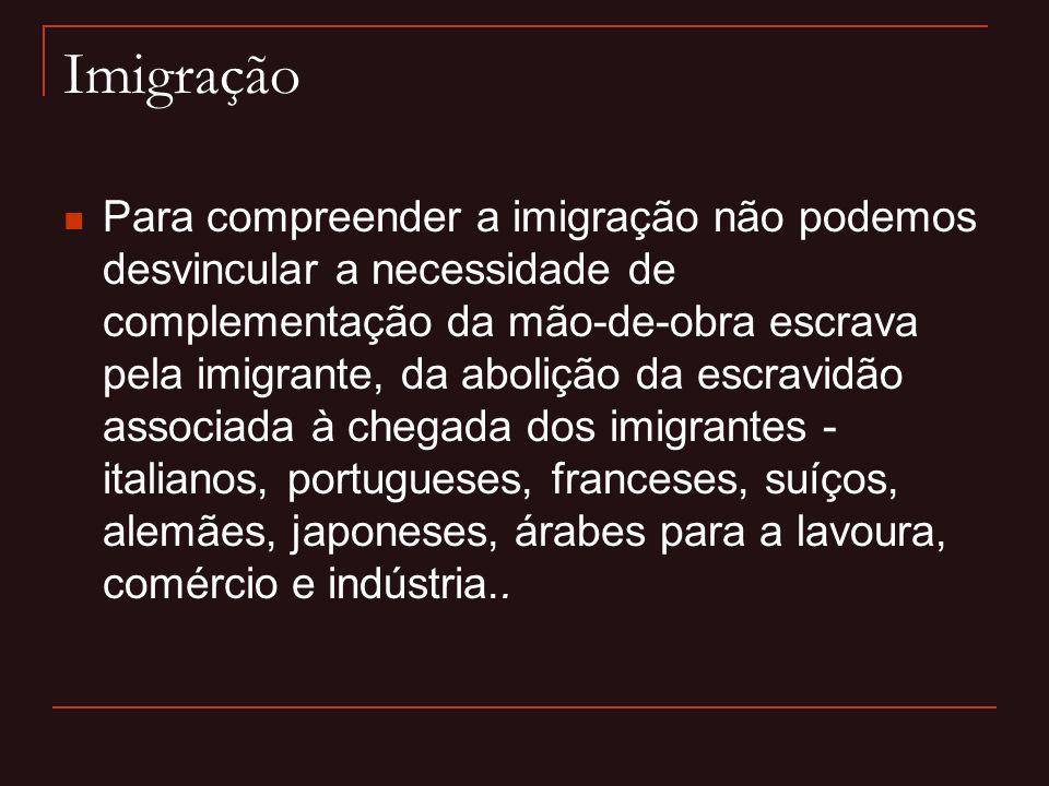 Imigração  Para compreender a imigração não podemos desvincular a necessidade de complementação da mão-de-obra escrava pela imigrante, da abolição da