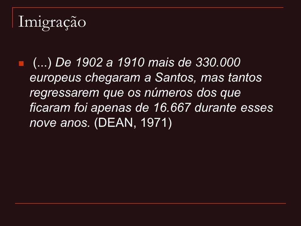 Imigração  (...) De 1902 a 1910 mais de 330.000 europeus chegaram a Santos, mas tantos regressarem que os números dos que ficaram foi apenas de 16.66