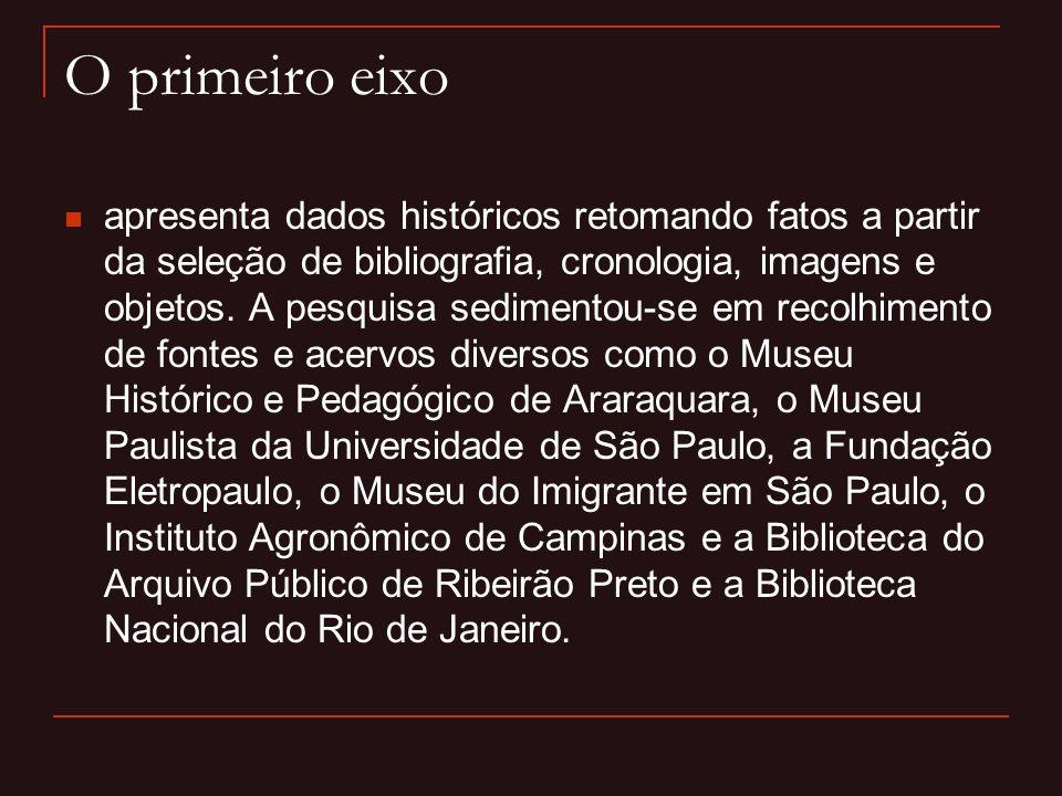 O segundo eixo  está fixado na identificação do elo da memória dos descendentes de imigrantes, sobretudo dos italianos, cujo universo temático está o movimento emigratório europeu e a agricultura do Café no Brasil do século XIX, na passagem para o século XX.