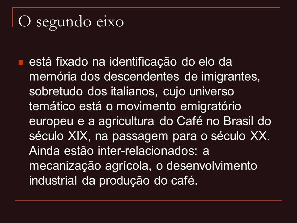 O segundo eixo  está fixado na identificação do elo da memória dos descendentes de imigrantes, sobretudo dos italianos, cujo universo temático está o
