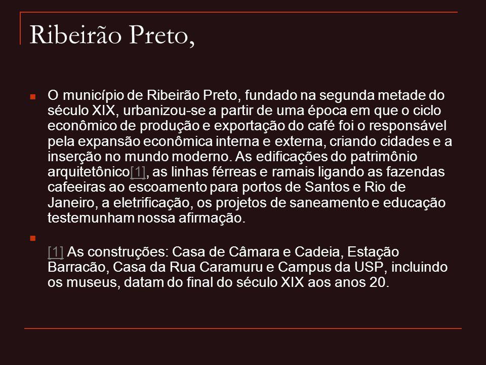 Ribeirão Preto,  O município de Ribeirão Preto, fundado na segunda metade do século XIX, urbanizou-se a partir de uma época em que o ciclo econômico