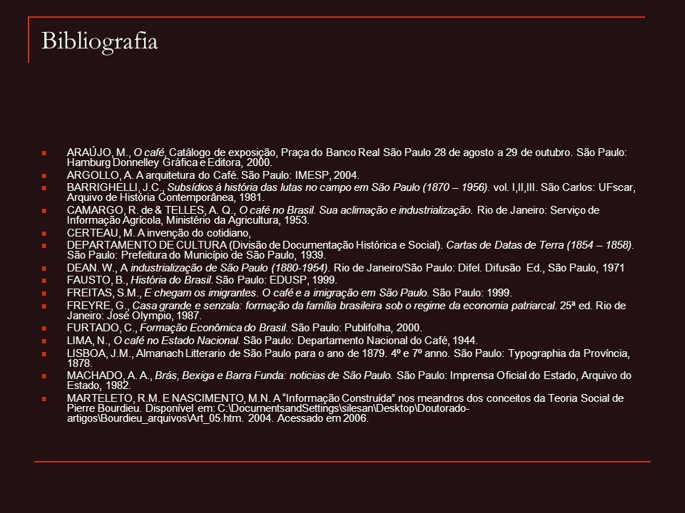 Bibliografia  ARAÚJO, M., O café, Catálogo de exposição, Praça do Banco Real São Paulo 28 de agosto a 29 de outubro. São Paulo: Hamburg Donnelley Grá
