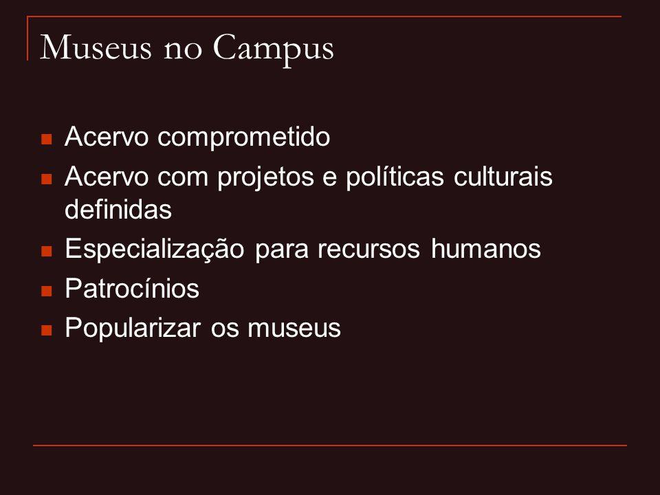 Museus no Campus  Acervo comprometido  Acervo com projetos e políticas culturais definidas  Especialização para recursos humanos  Patrocínios  Po