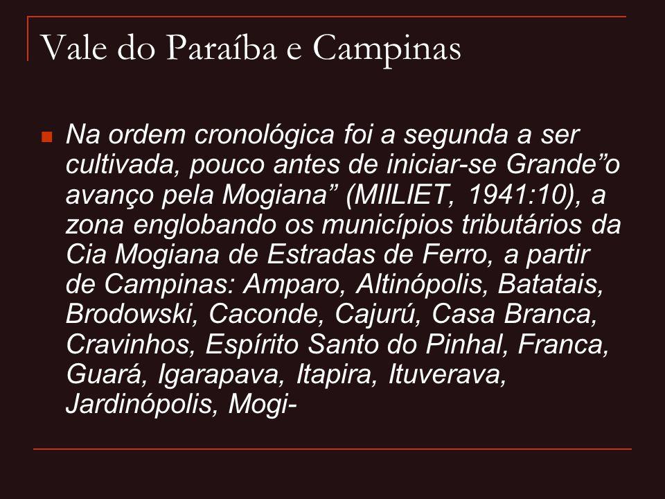 """Vale do Paraíba e Campinas  Na ordem cronológica foi a segunda a ser cultivada, pouco antes de iniciar-se Grande""""o avanço pela Mogiana"""" (MIILIET, 194"""