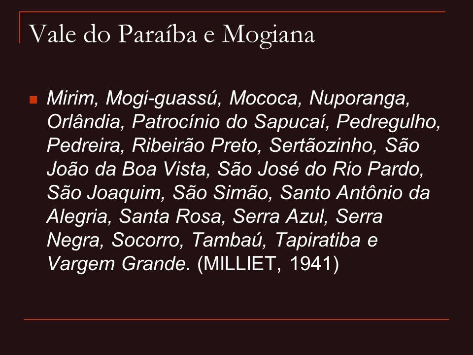 Vale do Paraíba e Mogiana  Mirim, Mogi-guassú, Mococa, Nuporanga, Orlândia, Patrocínio do Sapucaí, Pedregulho, Pedreira, Ribeirão Preto, Sertãozinho,