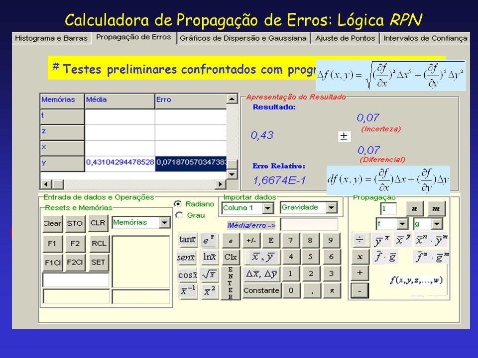 Calculadora de Propagação de Erros: Lógica RPN # Testes preliminares confrontados com programa Mathematica ®.