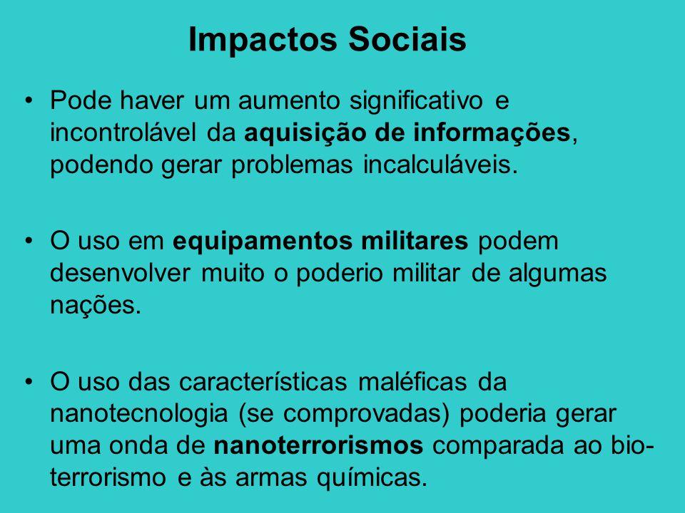 Impactos Sociais •Pode haver um aumento significativo e incontrolável da aquisição de informações, podendo gerar problemas incalculáveis. •O uso em eq