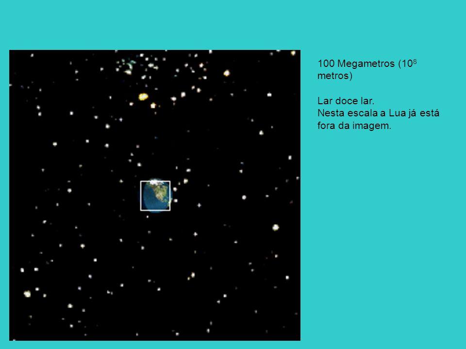 100 Megametros (10 8 metros) Lar doce lar. Nesta escala a Lua já está fora da imagem.