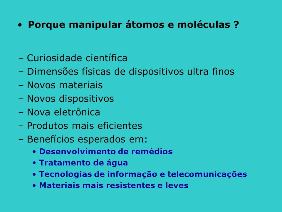 •Porque manipular átomos e moléculas ? –Curiosidade científica –Dimensões físicas de dispositivos ultra finos –Novos materiais –Novos dispositivos –No