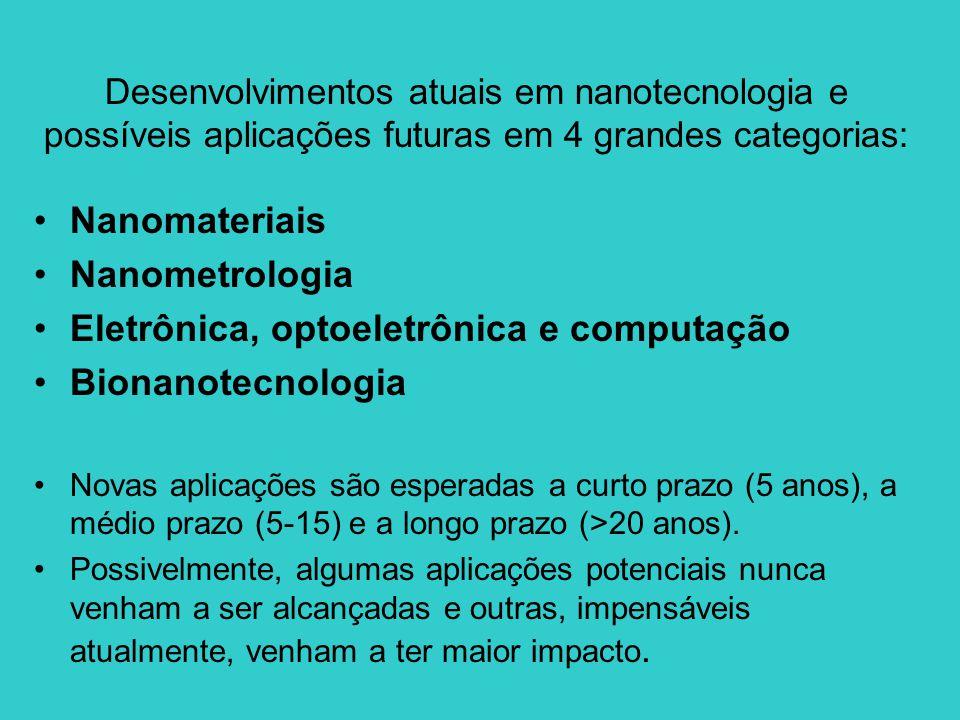 •Nanomateriais •Nanometrologia •Eletrônica, optoeletrônica e computação •Bionanotecnologia •Novas aplicações são esperadas a curto prazo (5 anos), a m