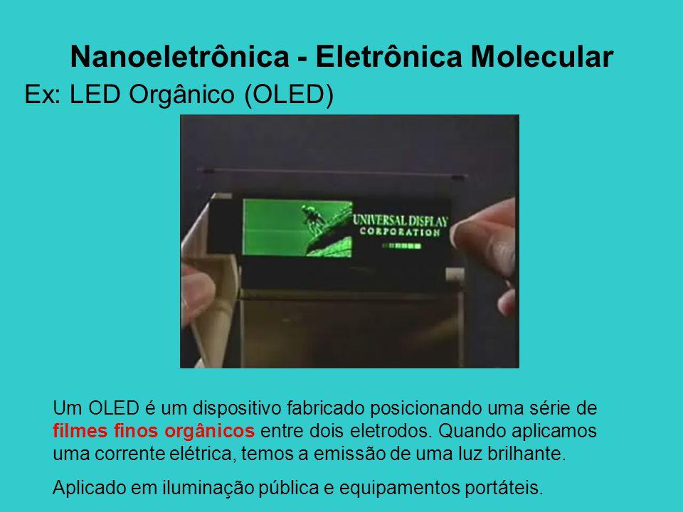 Ex: LED Orgânico (OLED) Um OLED é um dispositivo fabricado posicionando uma série de filmes finos orgânicos entre dois eletrodos. Quando aplicamos uma