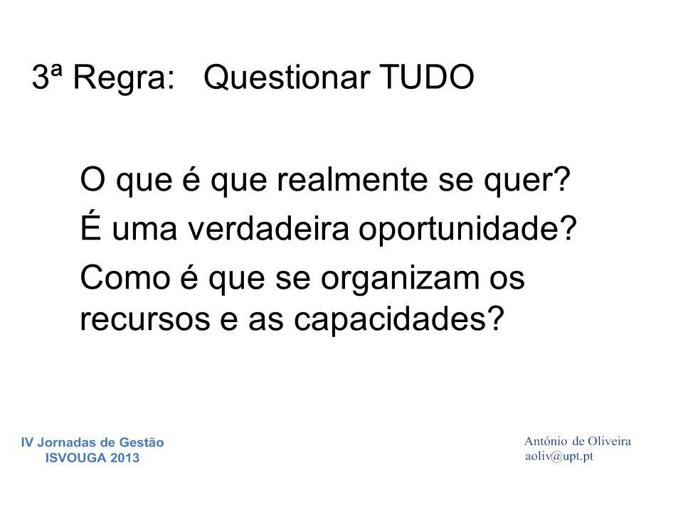 3ª Regra:Questionar TUDO O que é que realmente se quer? É uma verdadeira oportunidade? Como é que se organizam os recursos e as capacidades?