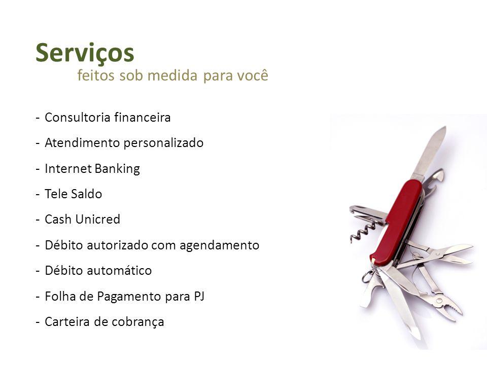 -Consultoria financeira -Atendimento personalizado -Internet Banking -Tele Saldo -Cash Unicred -Débito autorizado com agendamento -Débito automático -