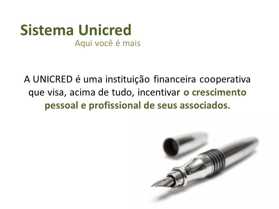 A UNICRED é uma instituição financeira cooperativa que visa, acima de tudo, incentivar o crescimento pessoal e profissional de seus associados. Sistem