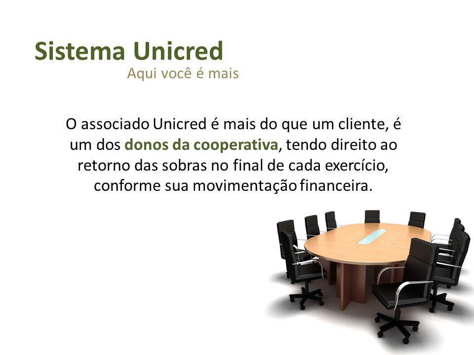 O associado Unicred é mais do que um cliente, é um dos donos da cooperativa, tendo direito ao retorno das sobras no final de cada exercício, conforme