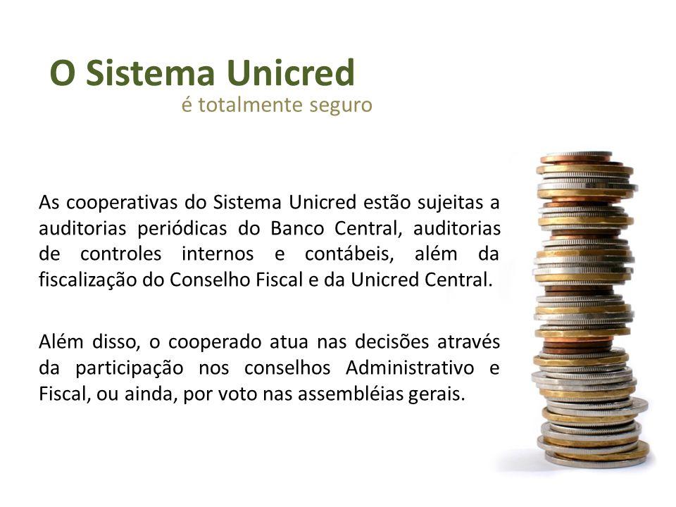 As cooperativas do Sistema Unicred estão sujeitas a auditorias periódicas do Banco Central, auditorias de controles internos e contábeis, além da fisc