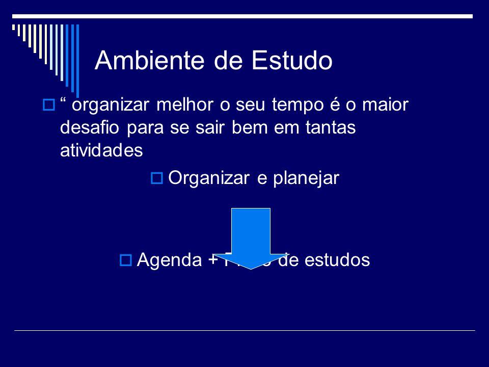 """Ambiente de Estudo  """" organizar melhor o seu tempo é o maior desafio para se sair bem em tantas atividades  Organizar e planejar  Agenda + Plano de"""