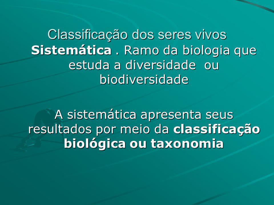 Classificação dos seres vivos Sistemática. Ramo da biologia que estuda a diversidade ou biodiversidade A sistemática apresenta seus resultados por mei
