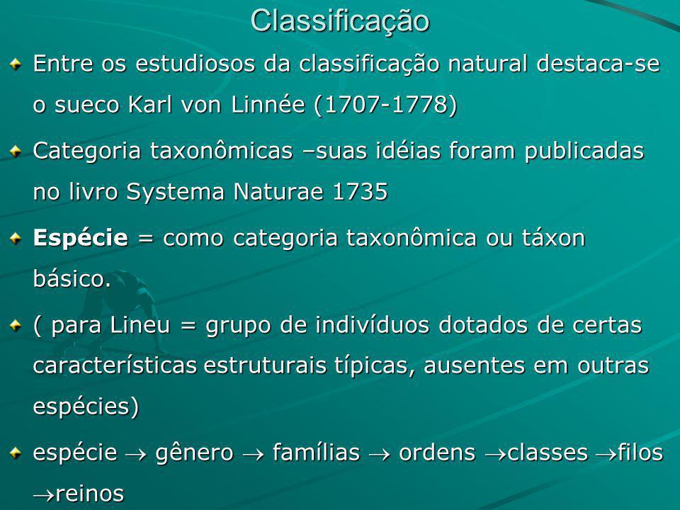 Classificação Entre os estudiosos da classificação natural destaca-se o sueco Karl von Linnée (1707-1778) Categoria taxonômicas –suas idéias foram pub