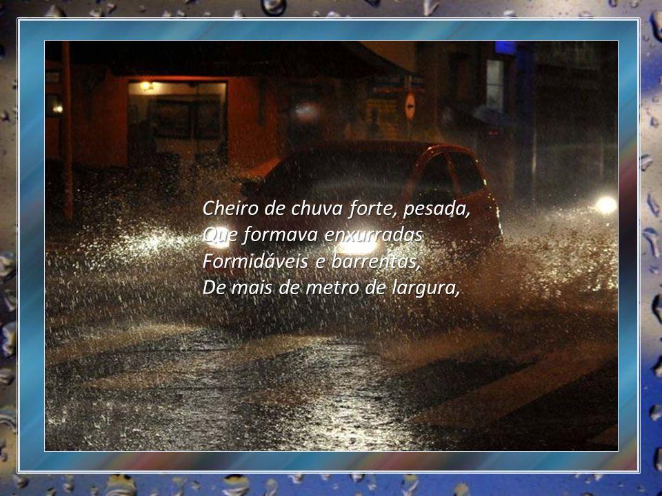 Cheiro de chuva forte, pesada, Que formava enxurradas Formidáveis e barrentas, De mais de metro de largura,